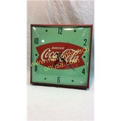 Coca Cola Advertising Clock in Metal Case