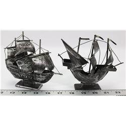 PAIR OF SMALL METAL SHIPS: SANTA MARIA AND