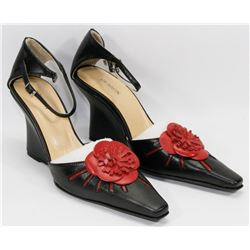 NEW BLACK & RED WEDGE HEEL SHOES SIZE 6.5