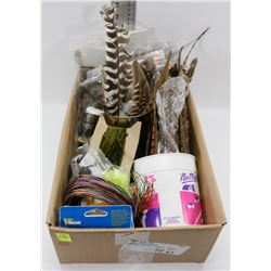 BOX OF ASSORTED LURE MAKING SUPPLIES INCLUDING