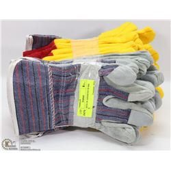 10 NEW SETS OF ASSORTED WORK GLOVES
