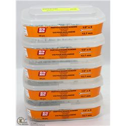 """5 TUBS OF PARTICLE BOARD SCREWS 1/2"""" X 8"""