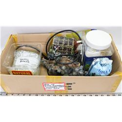 BOX OF AQUARIUM ORNAMENTS & SUPPLIES.