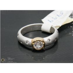 CZ STONE,  PLATED RING SIZE 6