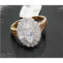 CZ STONE, PLATED RING SIZE 9