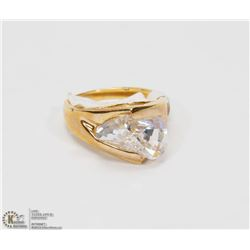 CZ STONE, GOLD PLATED RING SIZE 7
