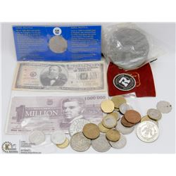 BAG OF ASSORTED COINS & WORLD MONEY