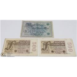GERMAN BANKNOTES - TWO 500 MARK 1920, AND 100 MARK