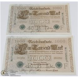 2 UNCIRCULATED GERMAN 1000 MARK BANK NOTES WITH