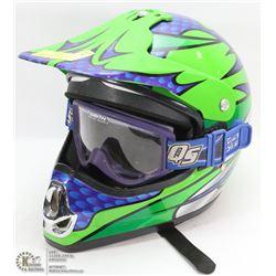 GREEN MOTORCROSS HELMET (KBC) (TK-X) LARGE