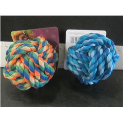 2 New Braided Rope toy balls for dogs