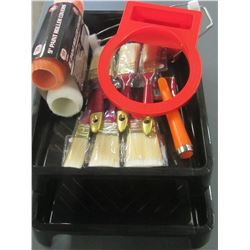 Large Painting bundle /2 rollers/handle/2sets brushes/2 trays/can holster
