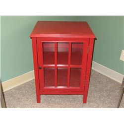 New Red Solid wood Cabinet / 1 door with glass and 1  shelf