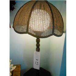 Vintage Wicker Shade Floor Lamp