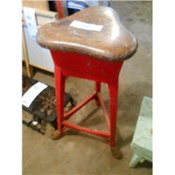 Wood Seat Stool with Metal Legs