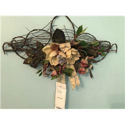 Bundle Lot / Floral Wall Decor / Crown Christmas Vase / Wicker Sewing Basket