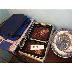 Asstd. Tray Set, Flow Blue Plate, Carriers