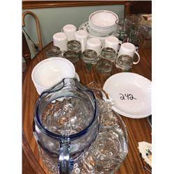 Asstd. Glass Pitcher, Glasses, Mugs, Plates Bowls