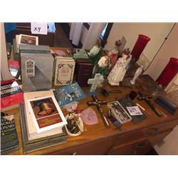 Bundle Lot / Crucifixes, Bibles, Figures / Stationery, Pencils, Alarm Clock / Welcome Sign