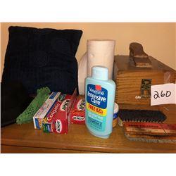 Shoeshine Kit, Toothpaste, Bengay, Vasoline