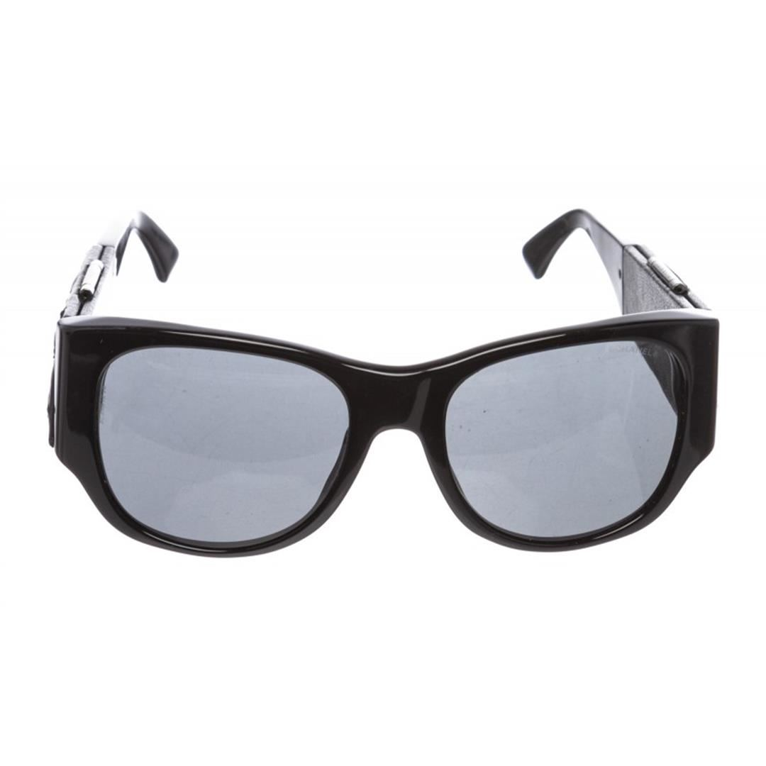 2f284dd1542 Image 1   Chanel Black Leather Quilted CC Mirror 5202-Q Sunglasses ...