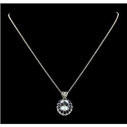 4.20 ctw Aquamarine, Sapphire and Diamond Pendant With Chain - 14KT White Gold