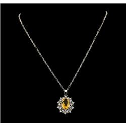 4.30 ctw Citrine and Diamond Pendant With Chain - 14KT White Gold