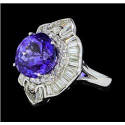 11.01 ctw Tanzanite And Diamond Ring - 18KT White Gold