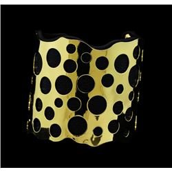 Multi Circle Design Cuff Bracelet - Metal and Leather
