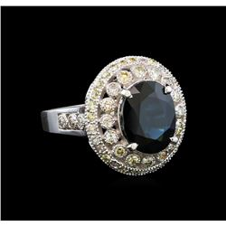 14KT White Gold 3.57 ctw Sapphire and Diamond Ring