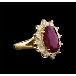 GIA Cert 3.52 ctw Ruby and Diamond Ring - 14KT Yellow Gold