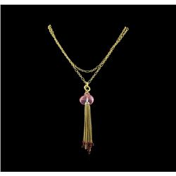 25.30 ctw Multi Gemstone and Diamond Pendant With Chain - 18KT Yellow Gold