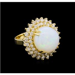 8.25 ctw Opal and Diamond Ring 14KT Yellow Gold