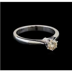 14KT White Gold 0.36 ctw Round Cut Fancy Brown Diamond Solitaire Ring