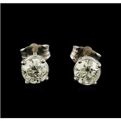 0.92 ctw Diamond Solitaire Earrings - 14KT White Gold