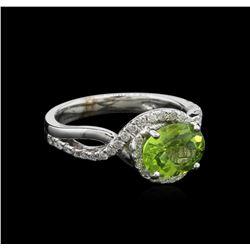1.82 ctw Peridot and Diamond Ring - 14KT White Gold