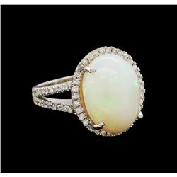 8.25 ctw Opal and Diamond Ring - 14KT White Gold