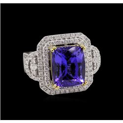 14KT Two-Tone Gold 7.46 ctw Tanzanite and Diamond Ring
