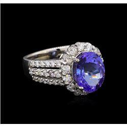 4.33 ctw Tanzanite and Diamond Ring - 14KT White Gold