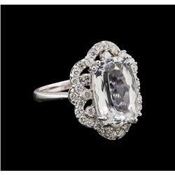 14KT White Gold 5.13 ctw Aquamarine and Diamond Ring