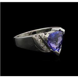 3.05 ctw Tanzanite and Diamond Ring - 14KT White Gold