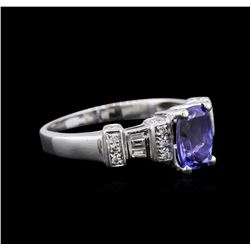18KT White Gold 2.01 ctw Tanzanite and Diamond Ring