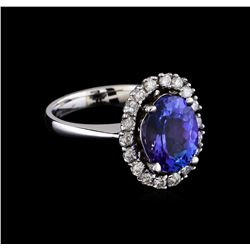 3.66 ctw Tanzanite and Diamond Ring - 14KT White Gold
