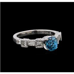 1.92 ctw Blue Zircon and Diamond Ring - 18KT White Gold
