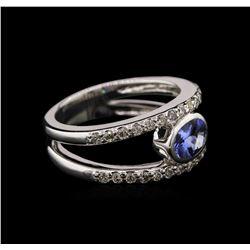 0.74 ctw Tanzanite and Diamond Ring - 14KT White Gold