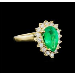 1.73 ctw Emerald and Diamond Ring - 14KT Yellow Gold