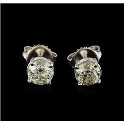 1.61 ctw Diamond Solitaire Earrings - 14KT White Gold