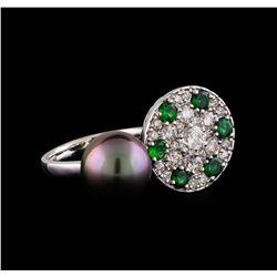 1.37 ctw Diamond, Tsavorite and Pearl Ring - 14KT White Gold