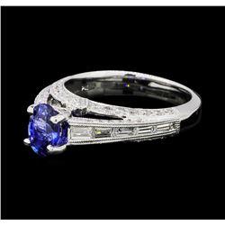 1.01 ctw Blue Sapphire And Diamond Ring - Platinum