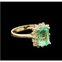 1.76 ctw Emerald and Diamond Ring - 14KT Yellow Gold